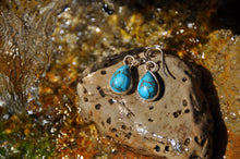 Load image into Gallery viewer, Turquoise Blue Pear Dangle Earrings