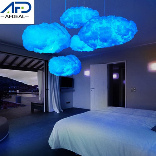 DIY Blue/Yellow Cotton Cloud Light Led Handmade Material Hanging Lamp Home Bedroom Decor - Life's Hidden Treasures