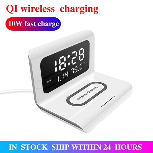 10W Qi Wireless Charger Wireless Charging Pad Thermometer Calendar Clock Fast Charge Cargador Inalambrico For Iphone Samsung - Life's Hidden Treasures