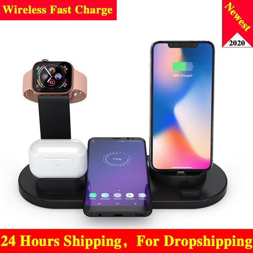 10W Qi Wireless Charger Dock Station 4 in 1 Wireless Charging Wireless Chargers Phone Carregadores Sem Fio Cargador Inalambrico - Life's Hidden Treasures