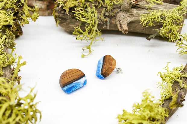 "Branch and Barrel ""North"" Reclaimed Bourbon Barrel Stave Stud Earrings  Reclaimed oak bourbon barrel and hand tinted blue resin set on a Sterling Silver post.  New for 2020!  Buy One, Plant One - One tree planted for every Branch+Barrel piece sold!"