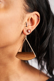 Branch and Barrel Designs Large fan earrings. Hand-cut reclaimed oak barrel stave framed with hand-forged 14k gold fill or sterling silver. Your choice of bourbon or red wine barrel.  Buy One Plant One - One Tree Planted for every Branch+Barrel piece sold!