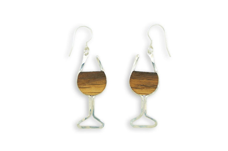 Branch and Barrel Designs wine glass earrings. Hand-cut reclaimed oak wine barrel stave framed with hand-forged 14k gold fill or sterling silver.  Buy One Plant One - One Tree Planted for every Branch+Barrel piece sold!