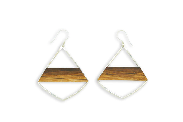 ​Branch and Barrel Designs barrel stave Striped Morrocan earrings.  Hand-cut reclaimed oak barrel stave framed with hand-forged 14k gold fill or sterling silver. Your choice of bourbon or red wine barrel.  Buy One Plant One - One Tree Planted for every Branch+Barrel piece sold!