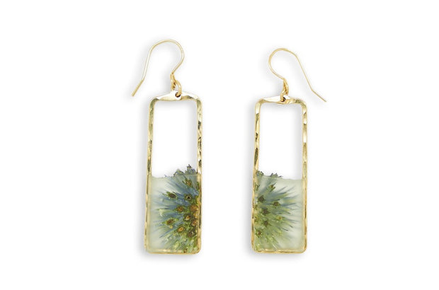 Branch and Barrel Designs Globe Thistle Rectangle Earrings. Sterling silver or 14 karat gold jewelry