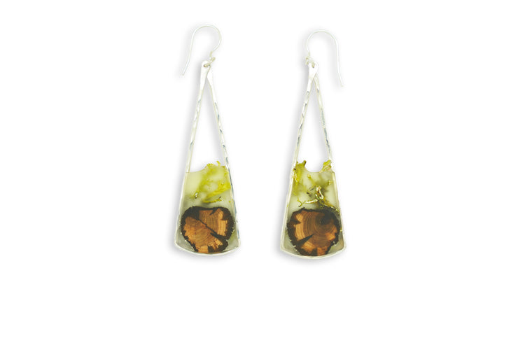 Branch and Barrel Lichen Long Fan earrings.  Central Oregon Lichen & Juniper suspended in resin, framed in hand forged sterling-silver or 14k gold-fill.  **New Design**  Buy One, Plant One - One tree planted for every Branch+Barrel piece sold.
