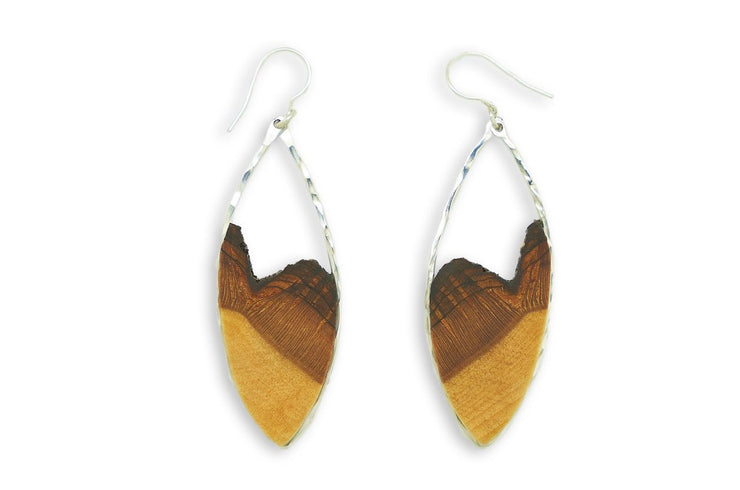 Branch and Barrel Basswood Marquise Earrings  Hand cut basswood framed in your choice of hand forged metal; Sterling Silver or 14k Gold-Fill.  Buy One Plant One - One tree planted for every Branch+Barrel piece sold!