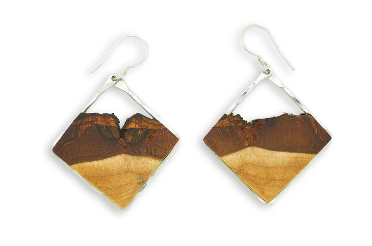 Branch and Barrel Small Basswood Diamond Hoop Earrings  Hand cut Basswood framed in hand forged sterling-silver or 14k gold-fill.  Buy One, Plant One - One tree planted for every branch+Barrel piece sold.