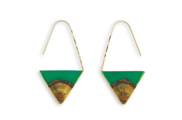 """Valley"" Central Oregon Ponderosa Pine Pull Through Earrings  Central Oregon Ponderosa Pine and a green, hand tinted resin framed in your choice of hand forged Sterling Silver or 14k Gold-Fill  Buy One Plant One - One tree planted for every Branch and Barrel piece sold!"