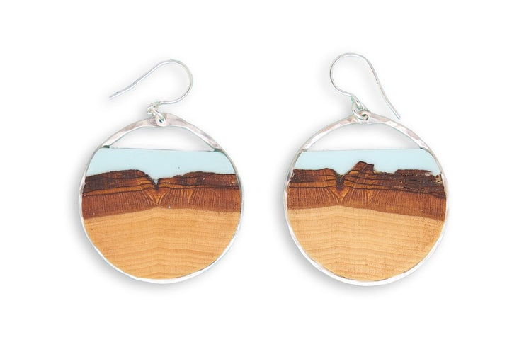 "Branch and Barrel ""Mesa"" - Turquoise Basswood Hoop Earrings - hand cut Basswood framed in hand forged sterling-silver or 14k gold-fill and topped with a hand-tinted turquoise colored resin.  Buy One, Plant One - One tree planted for every Branch+Barrel piece sold."