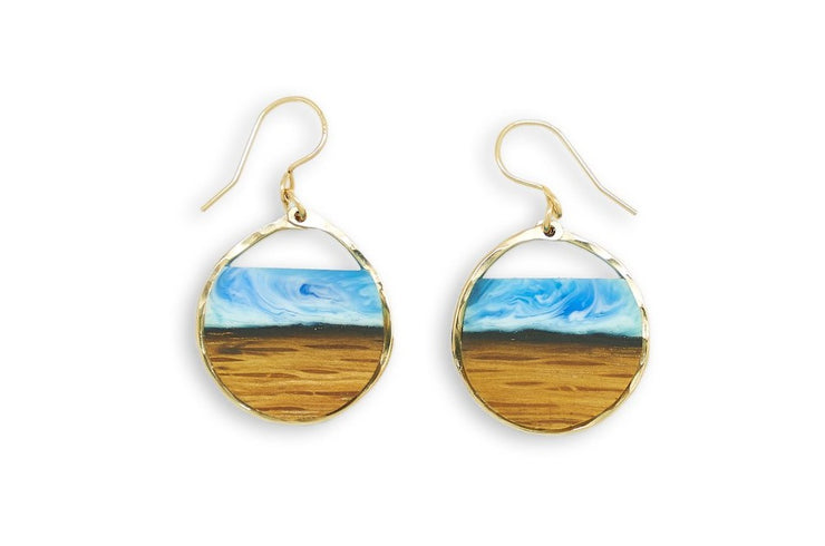 "Branch and Barrel ""Northbound"" Reclaimed Bourbon Barrel Stave Earrings  Reclaimed oak bourbon barrel topped with a hand tinted blue resin and framed in your choice of hand-forged Sterling Silver or 14k Gold-Fill  New for 2020!  Buy One, Plant One - One tree planted for every Branch+Barrel piece sold!"