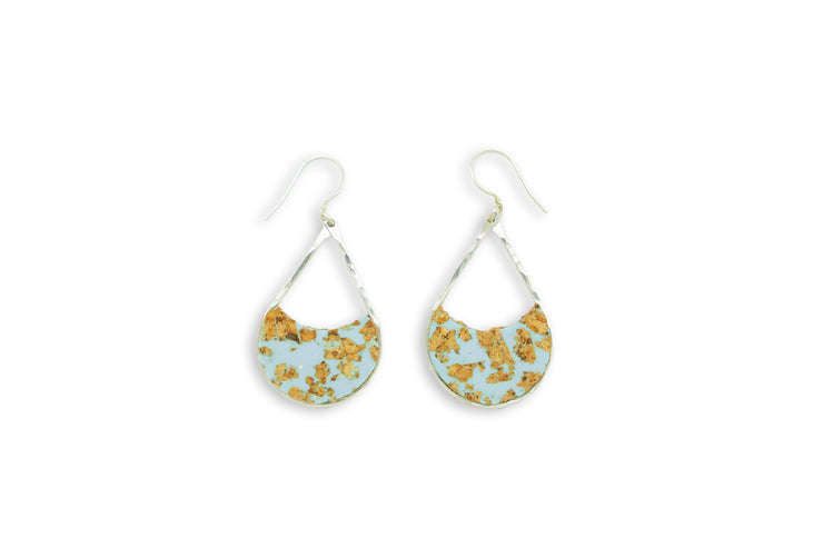 "Branch+Barrel ""Archipelago"" Cork Earrings  Hand cut cork paired with a hand tinted resin, framed in your choice of Sterling Silver or 14k Gold-Fill  Buy One Plant One - One tree planted for every Branch and Barrel piece sold!"