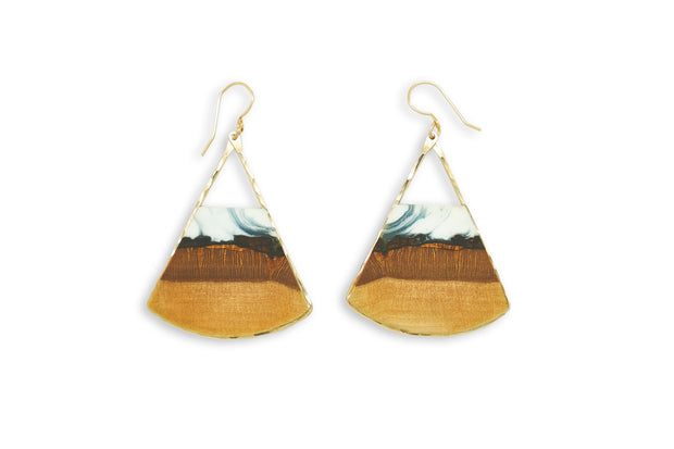 "Branch+Barrel ""Drift"" Basswood Fan Earrings  Hand cut Basswood paired with a hand tinted resin, framed in your choice of Sterling Silver or 14k Gold-Fill  Buy One Plant One - One tree planted for every Branch and Barrel piece sold!"