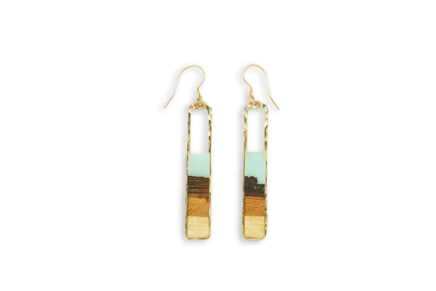 "Branch and Barrel ""Strata"" Turquoise Basswood Rectangle Earrings  Hand cut Basswood framed in hand forged sterling-silver or 14k gold-fill and topped with a hand-tinted turquoise resin.  Buy One, Plant One - One tree planted for every Branch+Barrel piece sold."