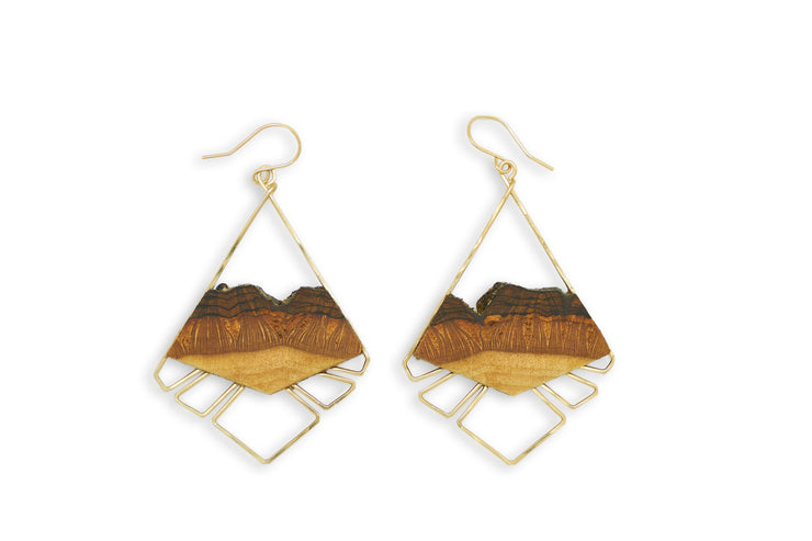Branch and Barrel Basswood Aztec Fan Earrings  Hand-cut basswood framed with intricate hand forged metal in your choice of  14k gold fill or sterling silver.  Buy One Plant One - One tree planted for every Branch and Barrel piece sold  *NEW FOR 2020*