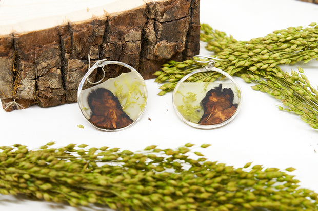 Branch and Barrel Lichen Medium Hoop earrings.  Central Oregon Lichen & Juniper suspended in resin, framed in hand forged sterling-silver or 14k gold-fill.  **New Design**  Buy One, Plant One - One tree planted for every Branch+Barrel piece sold.