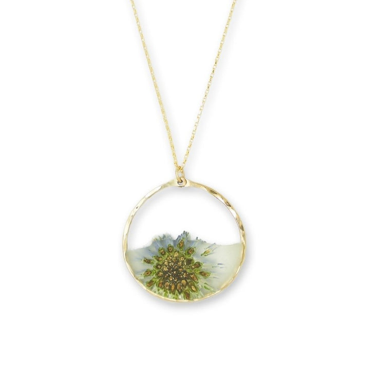 Branch and Barrel Designs Globe Thistle and resin circle pendant  necklace framed in hand forged 14 karat gold-fill or sterling silver