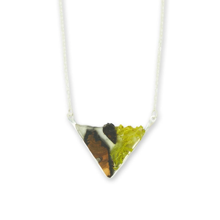 Branch and Barrel Lichen & Juniper Wedge Necklace.  Central Oregon Lichen & Juniper suspended in resin, framed in hand forged sterling-silver or 14k gold-fill.  **New Design**  Buy One, Plant One - One tree planted for every Branch+Barrel piece sold.