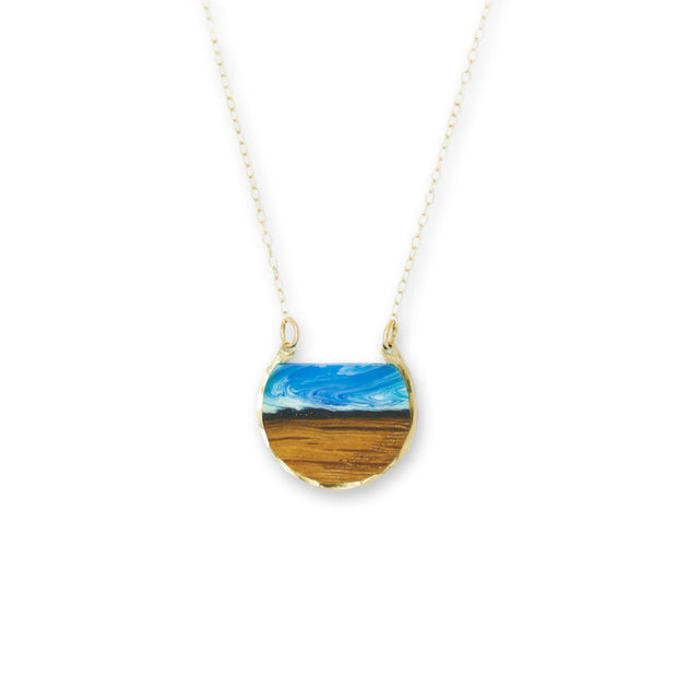 "Branch and Barrel ""Northbound"" Necklace.  Reclaimed Oak Bourbon Barrel Stave and hand tinted resin framed in your choice of hand-forged Sterling Silver or 14k Gold-Fill  New for 2020!  Buy One, Plant One - One tree planted for every Branch+Barrel piece sold!"