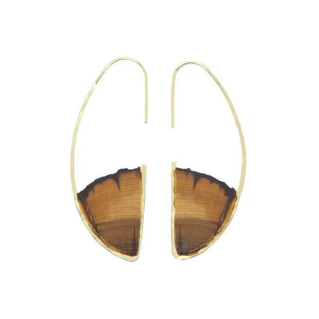 Central Oregon Juniper Pull Through D Hook Earrings  Hand cut Central Oregon Juniper framed with your choice of either 14k gold-fill or sterling silver.  Buy One Plant One - One tree planted for every Branch and Barrel piece sold!