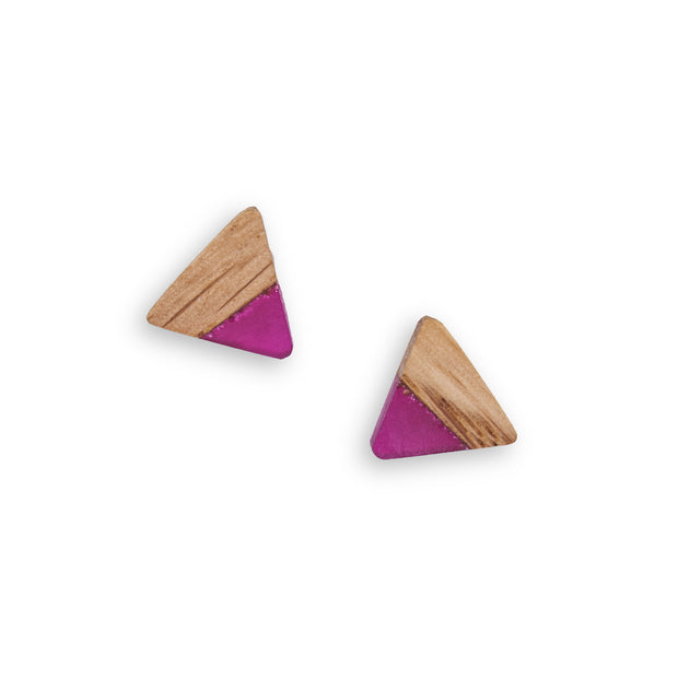 "Branch and Barrel ""Terroir"" Triangular Barrel Stave Studs - Hand cut reclaimed wine barrel staves topped with a hand tinted wine inspired resin and backed with a sterling-silver post.  Buy One, Plant One - One tree planted for every Branch+Barrel piece sold."