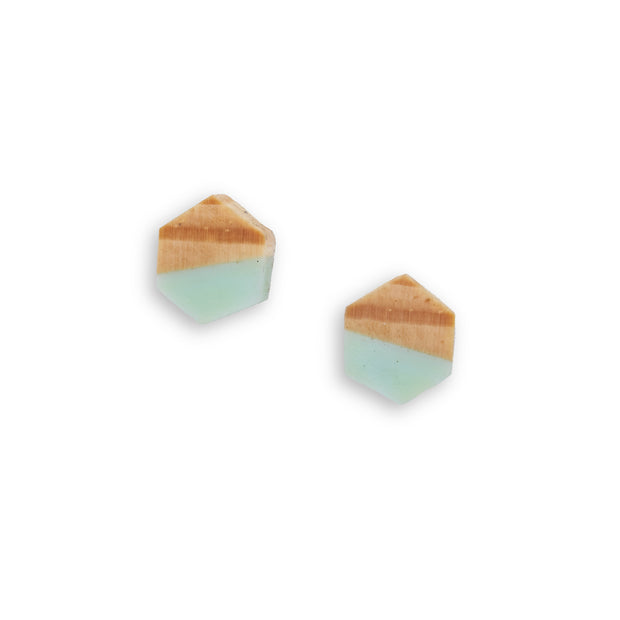 "Branch and Barrel ""Fractal"" - Ponderosa Pine Geo Stud Earrings - hand cut Ponderosa Pine accented with a hand-tinted resin and set on a sterling silver post.  Buy One, Plant One - One tree planted for every Branch+Barrel piece sold."