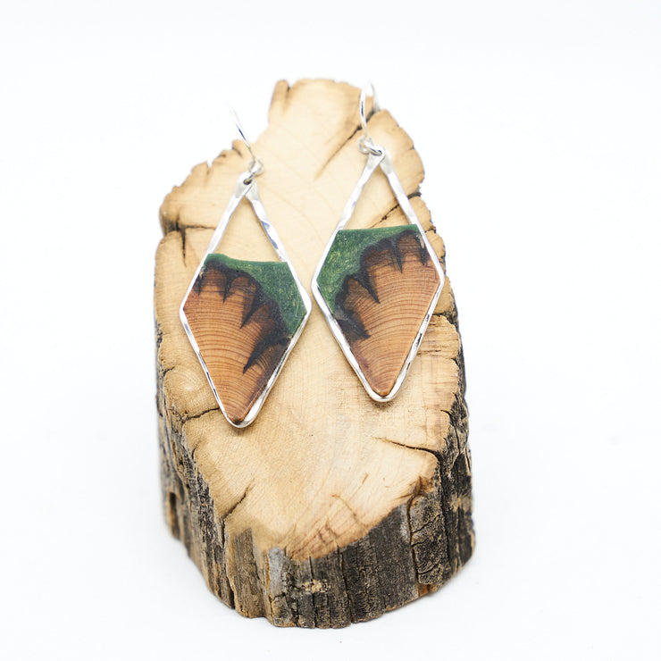 "Branch and Barrel ""Earth"" - Central Oregon Juniper, Slim Diamond Earrings H  Hand cut Juniper framed in hand forged sterling-silver or 14k gold-fill and topped with a hand-tinted sage green colored resin.  Buy One, Plant One - One tree planted for every Branch+Barrel piece sold."