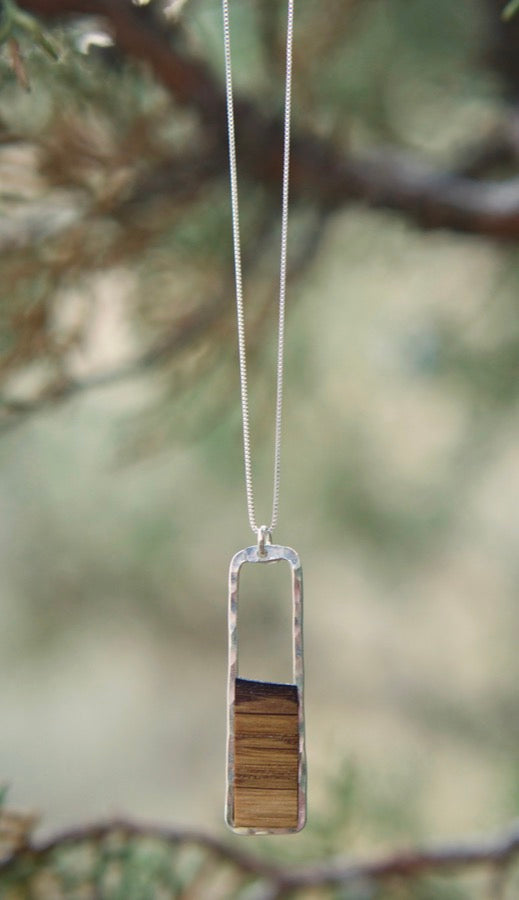 Reclaimed Oak Barrel Stave Vertical Rectangle Necklace  Your choice of bourbon or wine barrel stave framed with hand-forged 14k gold-fill or sterling silver  Buy One Plant One - One tree planted for every Branch and Barrel piece sold!