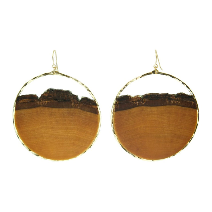Branch and Barrel Basswood Large hoop earrings.  Large enough to make a statement yet light enough to be worn all day. These hand-cut basswood hoops are framed with your choice of hand-forged 14k gold fill or sterling silver.  Buy One Plant One - One tree planted fo every Branch and Barrel piece sold
