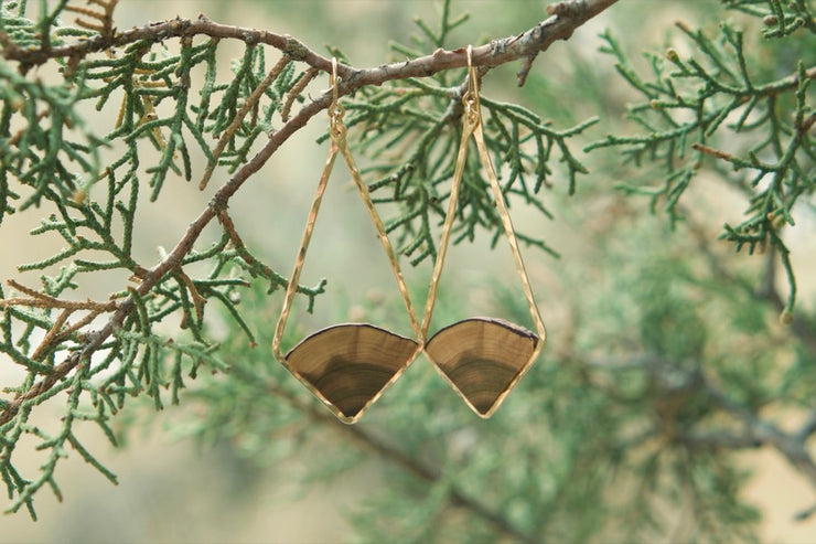 Central Oregon Juniper Elongated Diamond Earrings.  Hand cut Central Oregon Juniper framed with your choice of hand-forged metal; 14k gold fill or sterling silver.  Buy One Plant One - One tree planted for every Branch and Barrel piece sold.