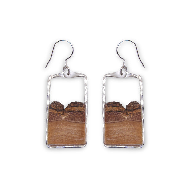 Branch and Barrel Basswood Small Rectangle Earrings.  Hand cut basswood framed in your choice of hand forged metal; sterling silver or 14k gold-fill.  Buy One Plant One - One tree planted for very Branch and Barrel piece sold.
