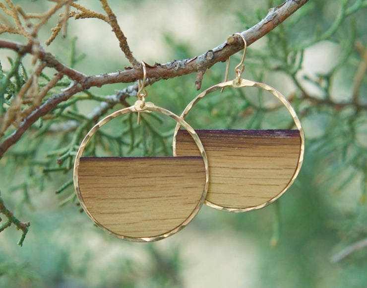 Branch and Barrel Designs hand-cut reclaimed oak barrel stave framed with hand-forged 14k gold fill or sterling silver.