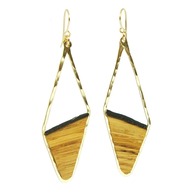 Branch and Barrel Designs earrings. Hand-cut reclaimed oak barrel stave framed with hand-forged 14k gold fill or sterling silver.