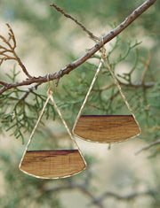 Large fan earrings. Hand-cut reclaimed oak barrel stave framed with hand-forged 14k gold fill or sterling silver. Your choice of bourbon or red wine barrel.  Buy One Plant One - One Tree Planted for every Branch+Barrel piece sold!