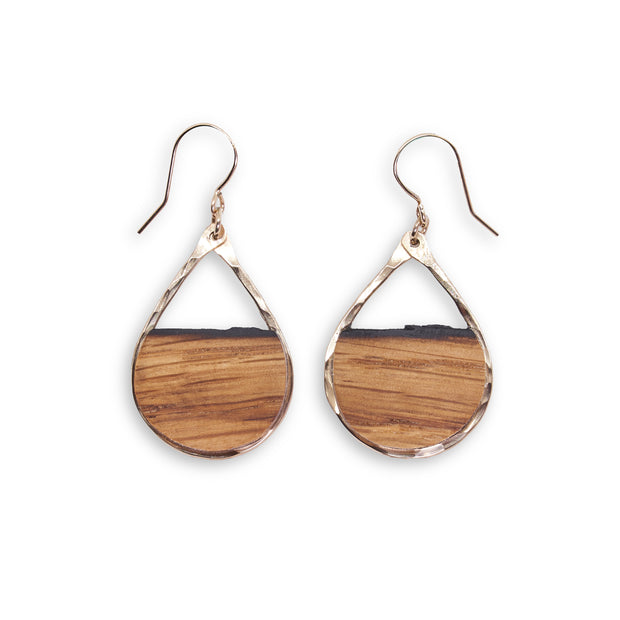 Branch+Barrel small barrel stave teardrop earrings. Reclaimed Oak Bourbon or Wine Barrel Stave framed with your choice of barrel stave and hand-Forged Sterling Silver or 14k Gold-Fill.  Buy One Plant One - One Tree Planted for every Branch+Barrel piece sold!