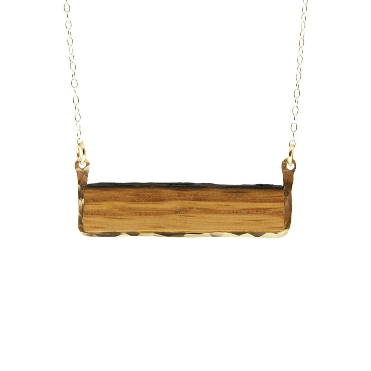Reclaimed Oak Barrel Stave Horizontal Bar Necklace  Your choice of wine or bourbon barrel stave framed in hand-forged Sterling Silver or 14k Gold-Fill  Buy One Plant One -One tree planted for every Branch and Barrel piece sold!