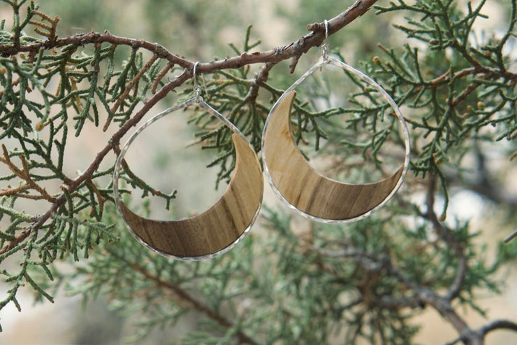 Branch and Barrel Western Maple Moon Hoop Earrings.  Hand cut Western Oregon Maple framed in your choice of hand-forged metal; Sterling Silver or 14k Gold-Fill.  Buy One Plant One - One tree planted for every Branch and Barrel piece sold.