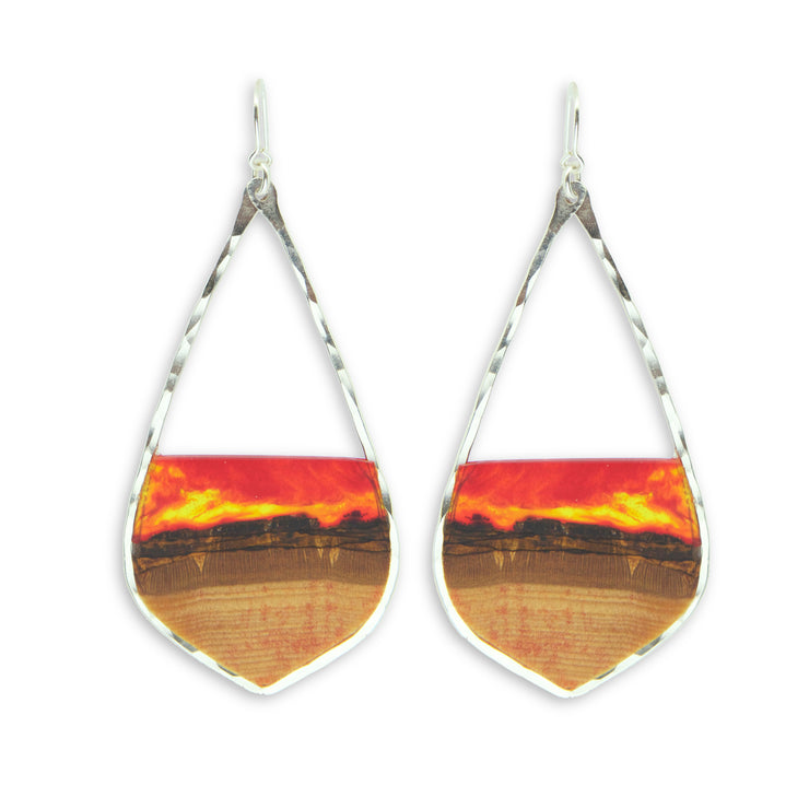 "Branch and Barrel ""Westward"" Basswood Earrings  Hand cut basswood and hand tinted resin framed in your choice of hand-forged Sterling Silver or 14k Gold-Fill  Buy One Plant One - One Tree Planted for every Branch and Barrel piece sold!"
