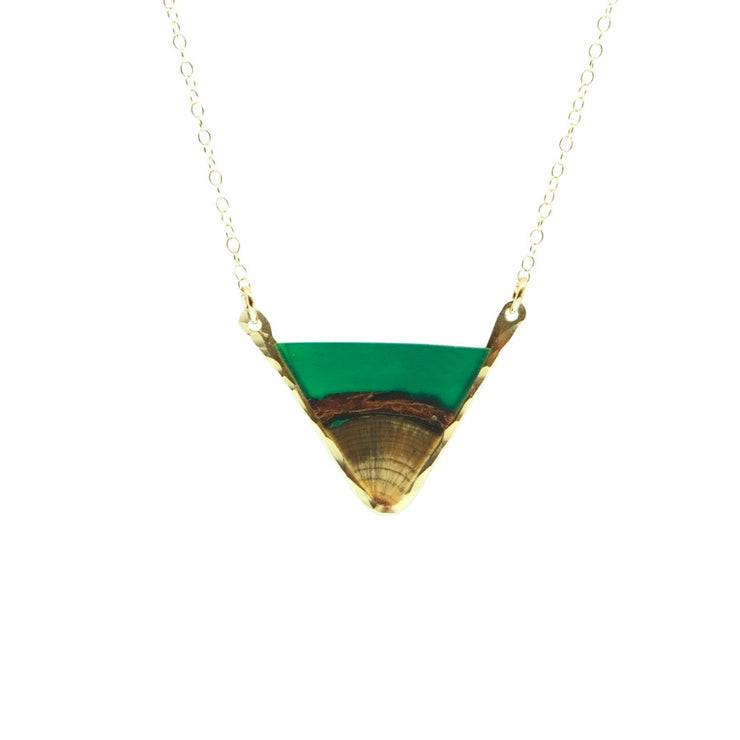 "Branch and Barrel ""beneath"" Ponderosa Pine and Hand Tinted Resin Necklace  Central Oregon ponderosa pine topped with a green, hand tinted resin and framed in your choice of hand-forged Sterling Silver or 14k Gold-Fill  Buy One Plant One - One tree planted for every Branch and Barrel piece sold!"
