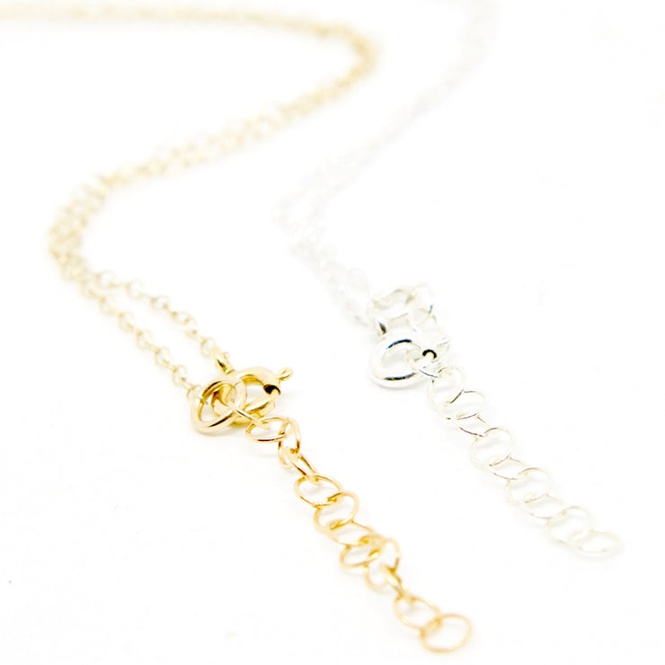 Branch and Barrel necklace clasp and extender examples - sterling silver and 14 karat gold-fill
