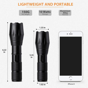 A100 Portable Ultra Bright Handheld LED Flashlight With Adjustable Focus and 5 Light Modes