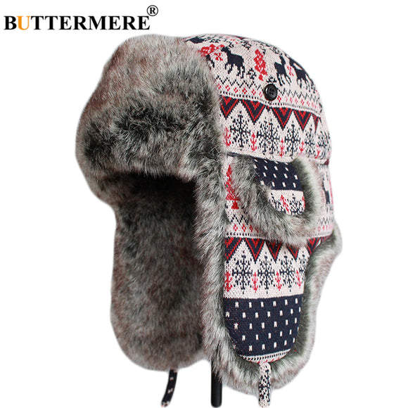 BUTTERMERE Women's Knitted Fur Cap Beige Warmer Bomber Hats with Earflap Female Winter Christmas Ladies Russian Soft Thicker Hat