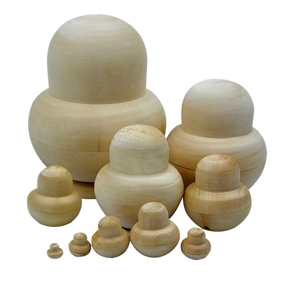 10pcs New Wooden Embryos Russian Nesting Matryoshka Dolls Toys Unpainted DIY Blank for Children Kids Gift