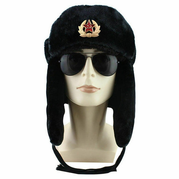 Soviet Army Military Badge Hats For Men Russia Ushanka Bomber Hats Pilot Trapper Aviator Cap Winter Faux Rabbit Fur Snow Cap Men