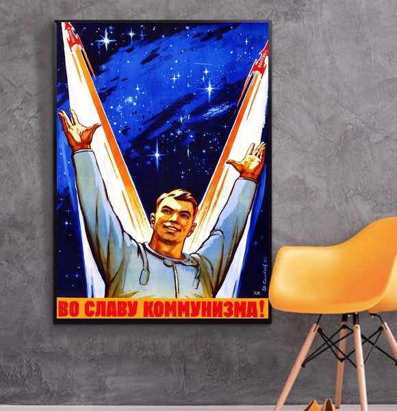 USSR Soviet Russia Vintage Poster Space Program Glory Classic Canvas Paintings Vintage Wall Posters Stickers Home Decor Gift