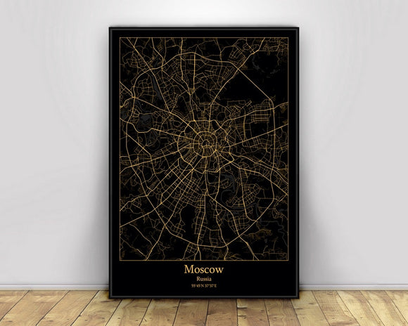 Moscow Russia Black&Gold City Light Maps Custom World City Map Posters Canvas Prints Nordic Style Wall Art Home Decor
