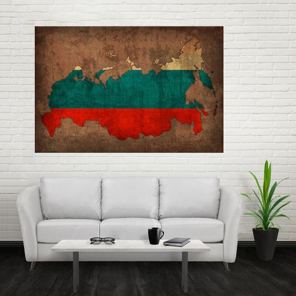 Country Flag Map of Russia Art Poster Canvas Painting Poster Art Wall Picture 50x75cm
