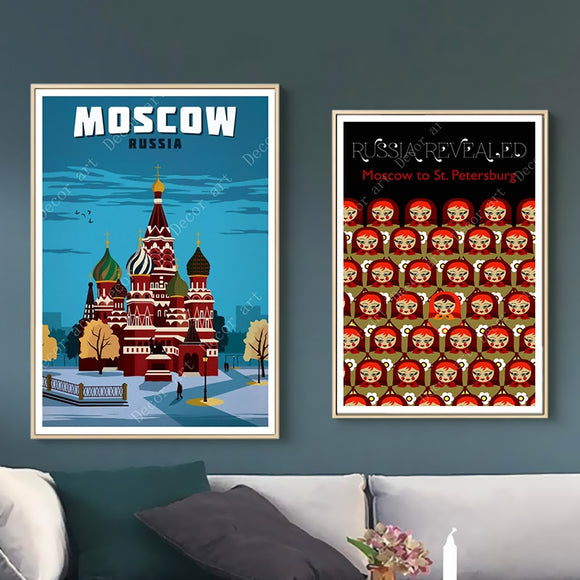 Russia St. Petersburg Moscow Travel Canvas Painting Vintage Wall Kraft Posters Coated Wall Stickers Home Decorative Picture Gift