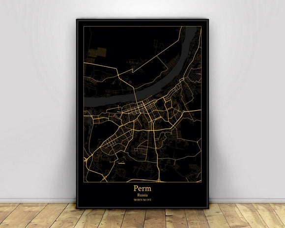 Perm Russia Black&Gold City Light Maps Custom World City Map Posters Canvas Prints Nordic Style Wall Art Home Decor