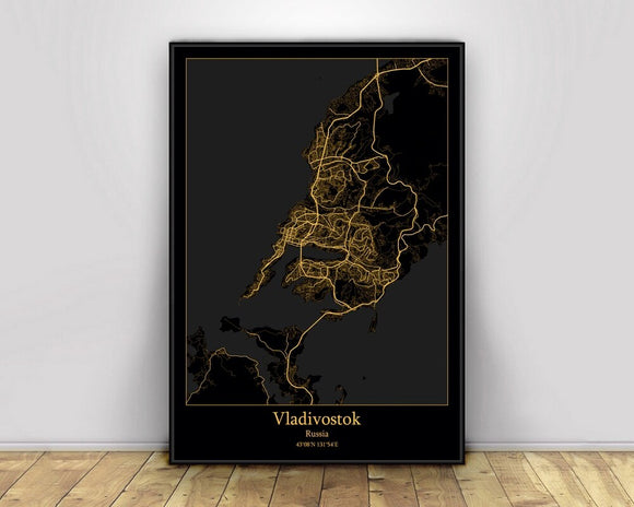 Vladivostok Russia Black&Gold City Light Maps Custom World City Map Posters Canvas Prints Nordic Style Wall Art Home Decor
